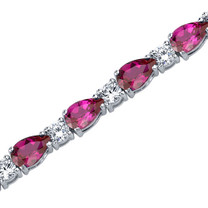 Perfect Allure: Pear Shape Ruby & White CZ Gemstone Bracelet in Sterling Silver Style SB3800