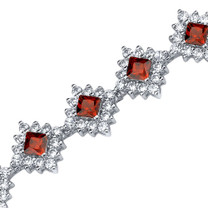 2.75 Carats Princess Cut Garnet & White CZ Bracelet in Sterling Silver Style SB3806