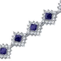 Princess Cut Blue Sapphire & White CZ Bracelet in Sterling Silver Style SB3814