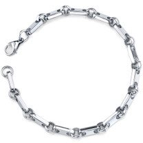 Amazing Style: Mens Stainless Steel Rectangular Link Bracelet Style SB3842
