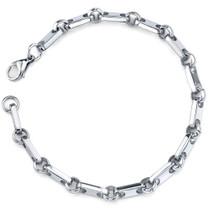 Amazing Style: Mens Stainless Steel Rectangular Link Bracelet Style SB3842