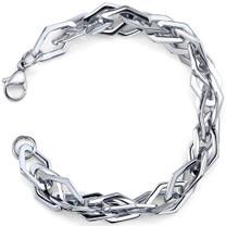 Linked Forever: Mens Stainless Steel interlocked Diamond-shape Link Bracelet Style SB3844