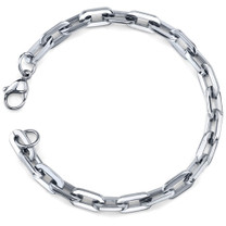 Effortless and Casual: Mens Stainless Steel Rectangular Link Bracelet Style SB3896