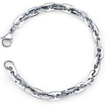 Impressive Style: Mens Stainless Steel Fancy Link Bracelet Style SB3898