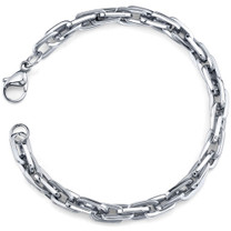 Debonair Flair: Mens Stainless Steel Interlocked Rectangular Link Bracelet Style SB3904