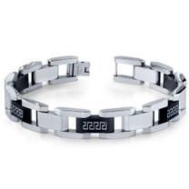 Mens Stainless Steel Black and Silver-tone Greek Key Large Link Bracelet Style SB3918