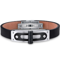 Mens Stainless Steel and Leather Bracelet with Black Hinge and Rivet Accents Style SB4018