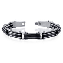 Mens Classy High-Polish Two Tone Black Ceramic and Stainless Steel Bracelet Style SB4036