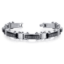Distinguished Class Mens Brushed Stainless Steel and Ceramic Diamond Pattern Bracelet Style SB4042