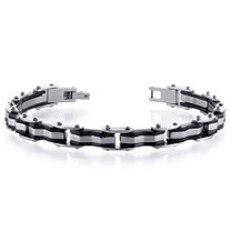 Sleek Style: Unique Link Polished and Black Stainless Steel Mens Bracelet Style SB4080