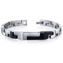 Mens Brushed and Black Plated T Link Stainless Steel Bracelet Style SB4092