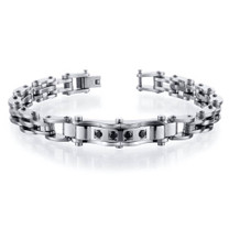 European Design Mens Black CZ Stainless Steel Bracelet Style SB4096