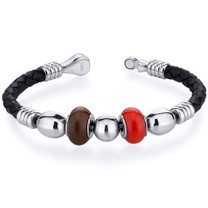 Red and Brown Roundel Bead woven Leather Bracelet Style SB4138