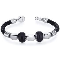 Jet Black Roundel Bead woven Leather Bracelet Style SB4140