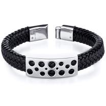 Mens Circle Motif Stainless Steel Black Woven Bracelet Style SB4142