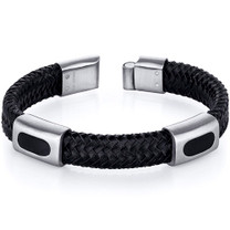 Mens Black Woven Leather and Stainless Steel Bracelet Style SB4182