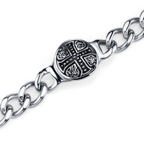 Rugged ID Style Stainless Steel Celtic Cross Curb Chain Bracelet Style SB4206