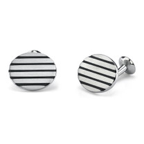 Gentleman-like Elegance: Surgical Stainless Steel Oval Brushed Finish Cufflinks Style SC1004