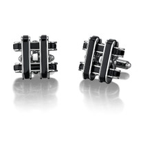 Stainless Steel Cufflinks with Black Resin Inlay Style SC1006