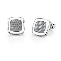 Stainless Steel Cushion Shape Geometrical Pattern Cufflinks Style SC1018