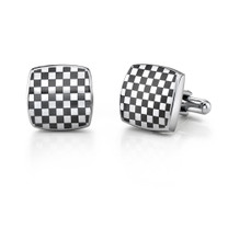 Stainless Steel Cushion Shape ChessBoard Design Cufflinks Style SC1022