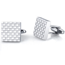 Handsome and Genteel: Stainless Steel Checkerboard Square Cuff-links Style SC1026