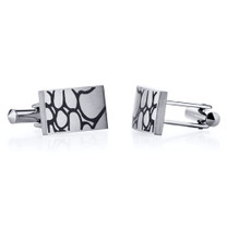 Abstract Squiggle Design Brushed Finish Titanium Cufflinks Style SC1048
