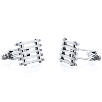 Classy Industrial Striped Design Polished Titanium Mens Cufflinks Style SC1054
