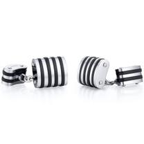 Unique Black Stripe Polished Titanium Chain Style Mens Cufflinks Style SC1056