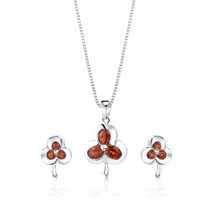 2.25 cts Oval & Round Cut Garnet Pendant Earrings Set Style SS1082