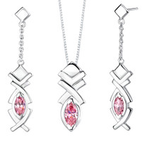 Marquise Shape Pink Cubic Zirconia Pendant Earrings Set in Sterling Silver Style SS2018