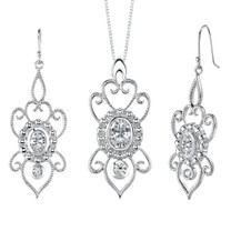 Oval & Round Shape White Cubic Zirconia Pendant Earrings Set in Sterling Silver Style SS2116