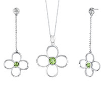 2.75 carats Round Shape Peridot Pendant Earrings Set in Sterling Silver Style SS2166