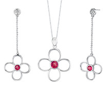 Round Shape Ruby Pendant Earrings Set in Sterling Silver Style SS2172
