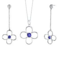 Round Shape Sapphire Pendant Earrings Set in Sterling Silver Style SS2174