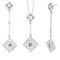4.00 carats Round Shape Swiss Blue Topaz Pendant Earrings Set in Sterling Silver Style SS2188