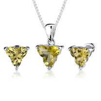 Ultimate Chic: 6.75 carat Tri Flower Cut Lemon Quartz Pendant Earring Set in Sterling Silver Style SS2550