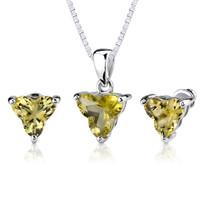 Ultimate Chic: 6.75 carat Tri Flower Cut Lemon Quartz Pendant Earring Set in Sterling Silver Style SS2550
