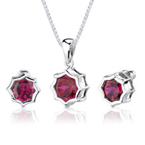 9.50 carat Concave-Cut Snowflake Shape Ruby Pendant Earring Set in Sterling Silver Style SS2568
