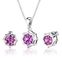 8.75 carat Concave-Cut Snowflake Shape Pink Sapphire Pendant Earring Set in Sterling Silver Style SS2570