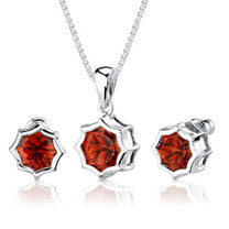 10.25 carat Snowflake Shape Padparadscha Sapphire Pendant Earring Set in Sterling Silver Style SS2572