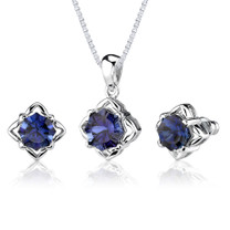 10.25 carat Concave-Cut Snowflake Blue Sapphire Pendant Earring Set in Sterling Silver Style SS2580