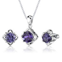 10.00 carat Concave-Cut Snowflake Shape Alexandrite Pendant Earring Set in Sterling Silver Style SS2588