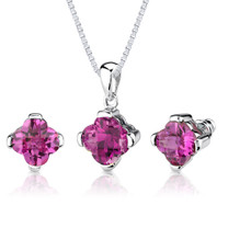 10.25 carat Checkerboard Lily Cut Pink Sapphire Pendant Earring Set in Sterling Silver Style SS2598