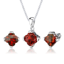10.25 carat  Lily Cut Padparadscha Sapphire Pendant Earring Set in Sterling Silver Style SS2600