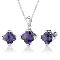 8.25 carat Checkerboard Lily Cut Alexandrite Pendant Earring Set in Sterling Silver Style SS2602
