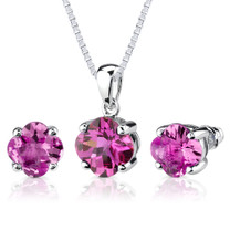 10.25 carat Checkerboard Lily Cut Pink Sapphire Pendant Earring Set in Sterling Silver Style SS2612