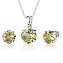 6.25 carat Checkerboard Lily Cut Lemon Quartz Pendant Earring Set in Sterling Silver Style SS2620