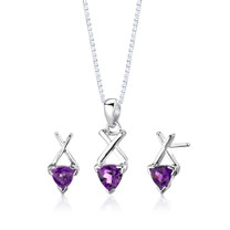 Sterling Silver 1.50 Carats Trillion Cut Amethyst Pendant Earrings Set Style SS2622