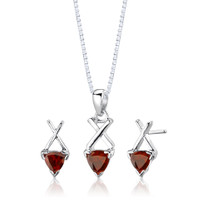 Sterling Silver 2.00 Carats Trillion Cut Garnet Pendant Earrings Set Style SS2624
